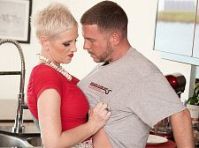 Kimber screws the plumber. Her husband watches.